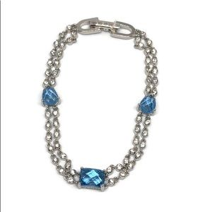 Signed GIVENCHY Blue and white Crystal Bracelet